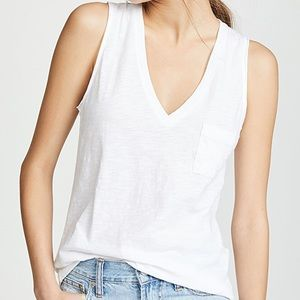 Madewell Tops - Madewell White V-Neck Pocket Muscle Tee XS